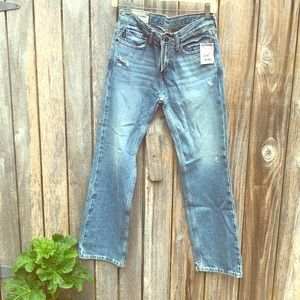 Abercrombie Light blue, distressed jeans.
